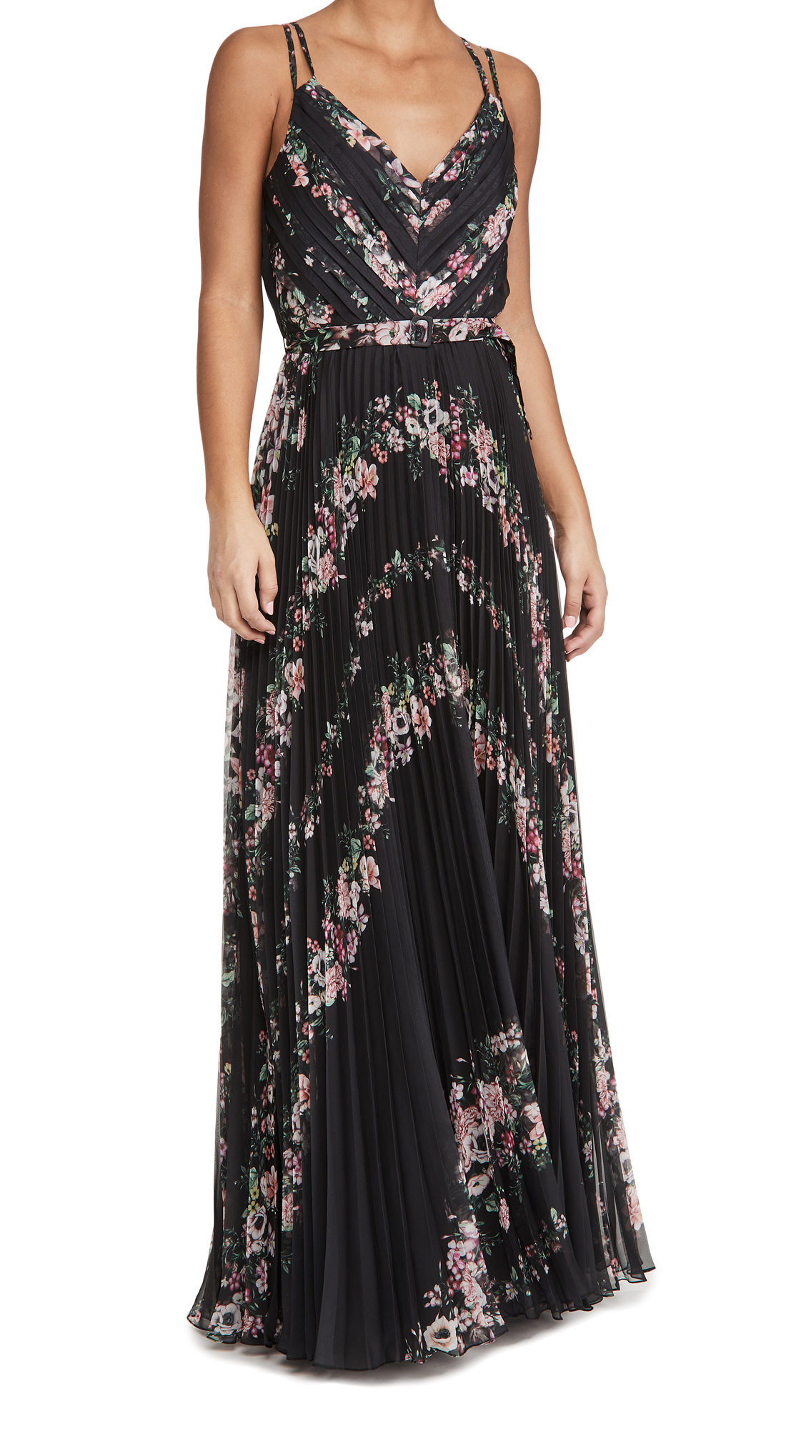 Marchesa Notte Sleeveless V Neck Gown with Self Belt
