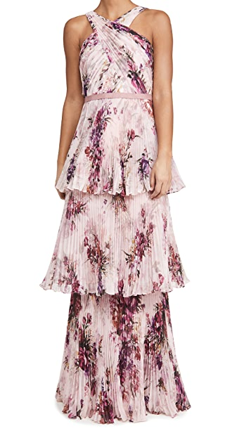 Marchesa Notte Halter 3-Tiered Gown with Self-Belt