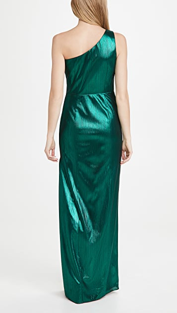 Marchesa Notte One Shoulder Metallic Gown with Side Slit