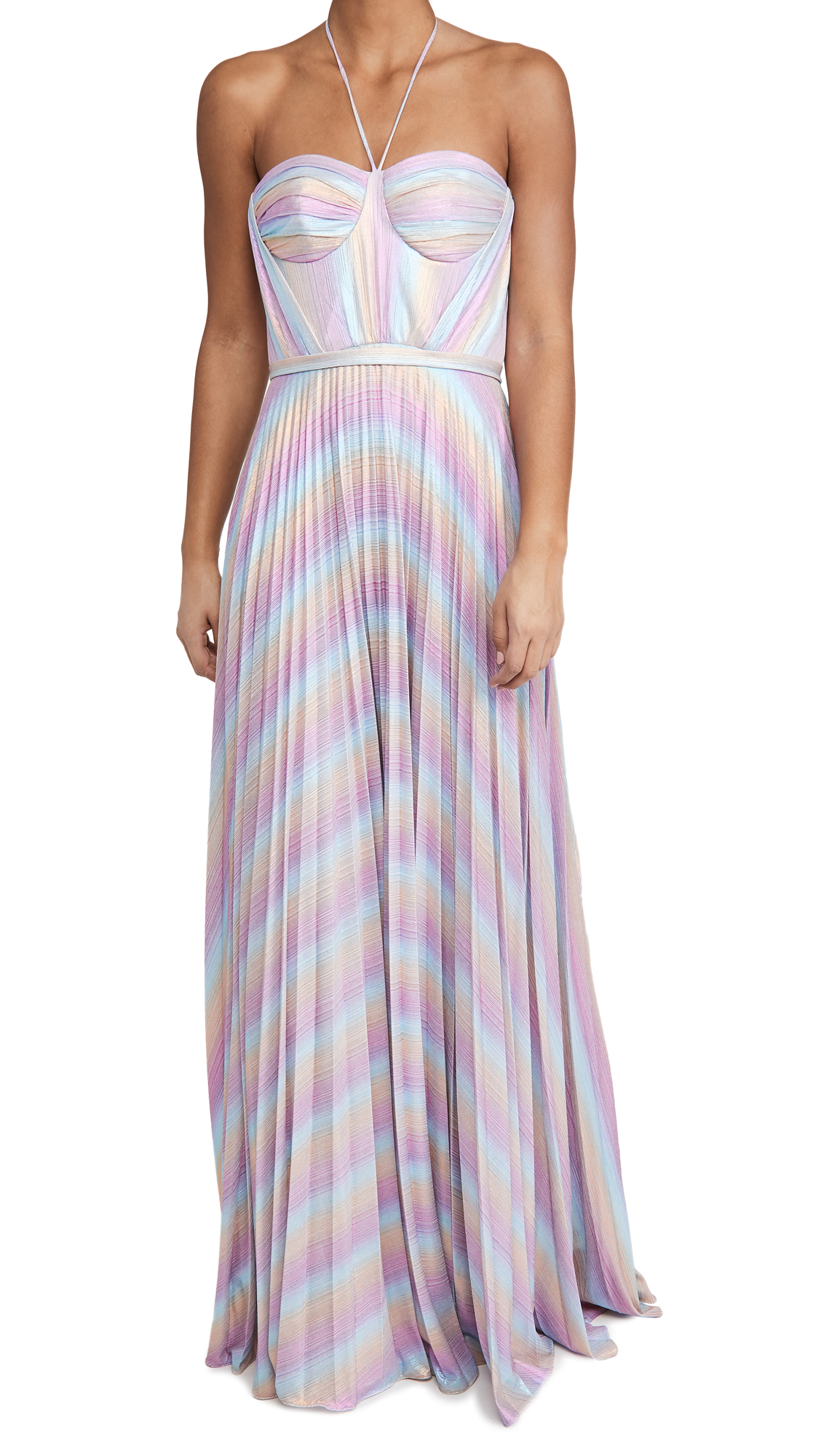 Marchesa Notte Sleeveless Halter Bustier Gown