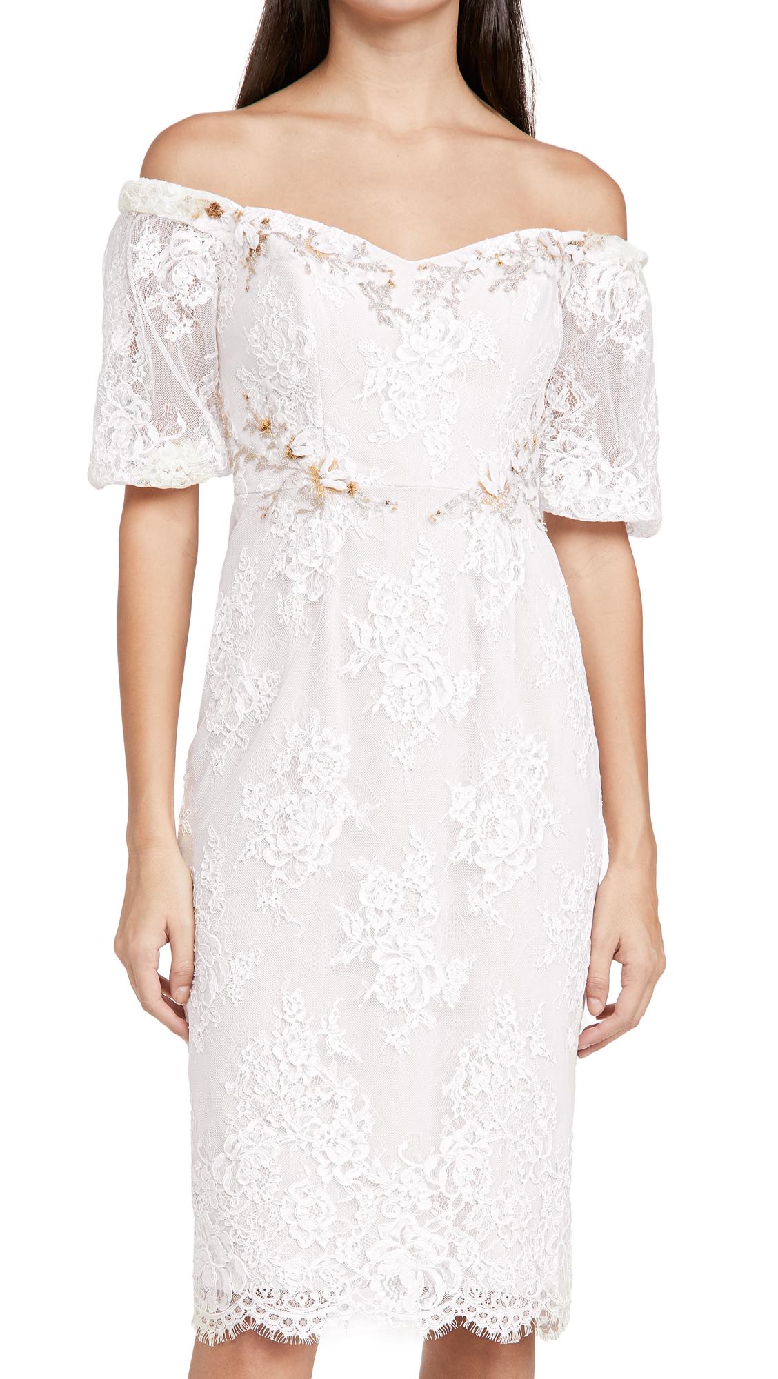 Marchesa Notte Short Bubble Sleeve Sheath Cocktail Dress