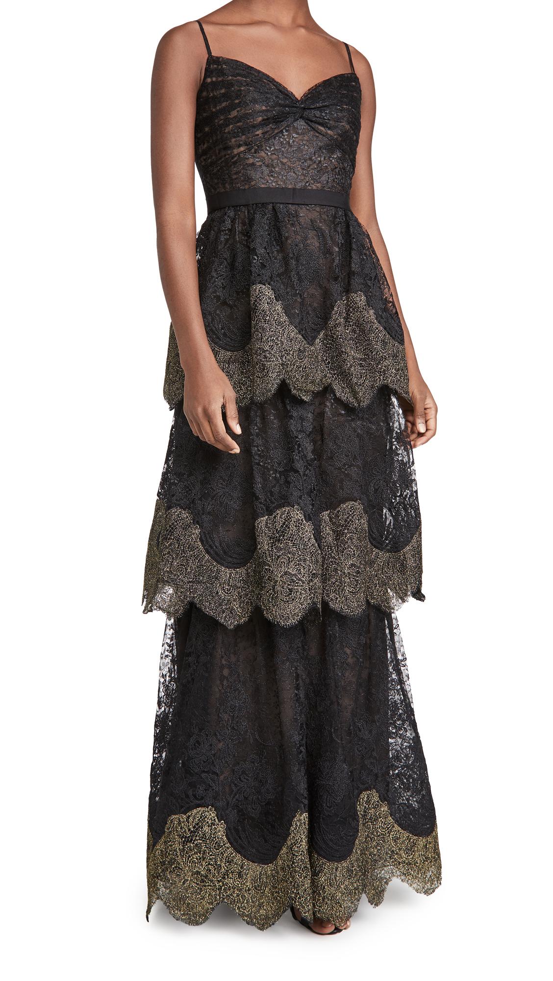 Marchesa Notte Sleeveless Metallic 3-Tiered Gown