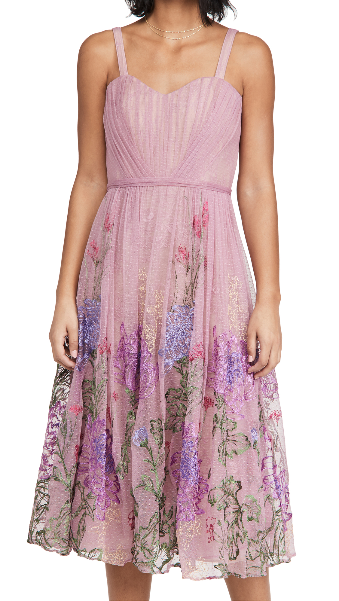 Marchesa Notte Sleeveless Embroidered A-Line Gown
