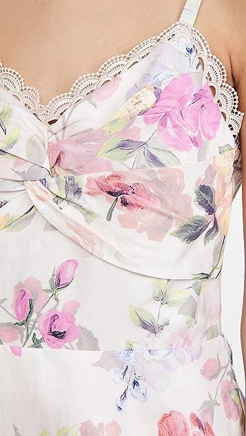 Marchesa Notte Printed Sleeveless Midi Dress