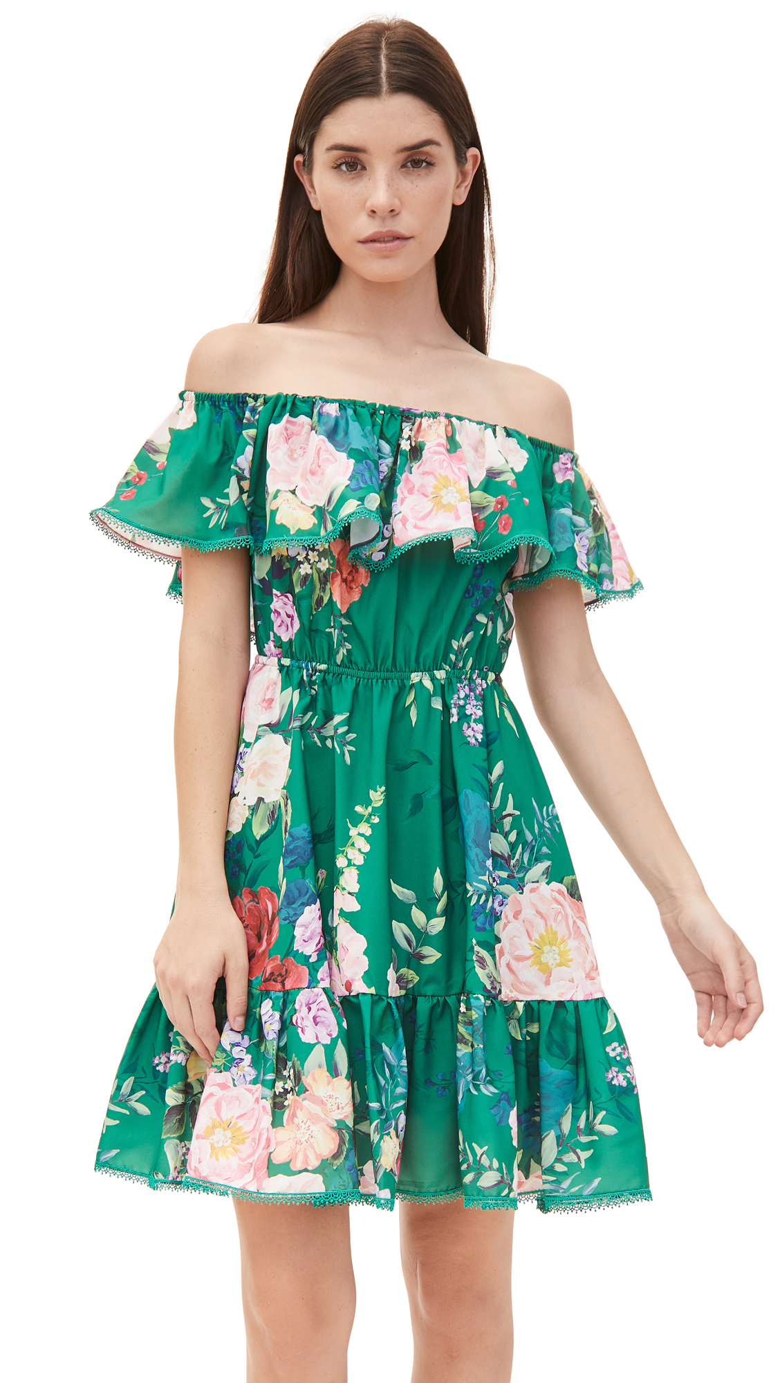 Marchesa Notte Printed Off Shoulder Ruffle Mini Dress