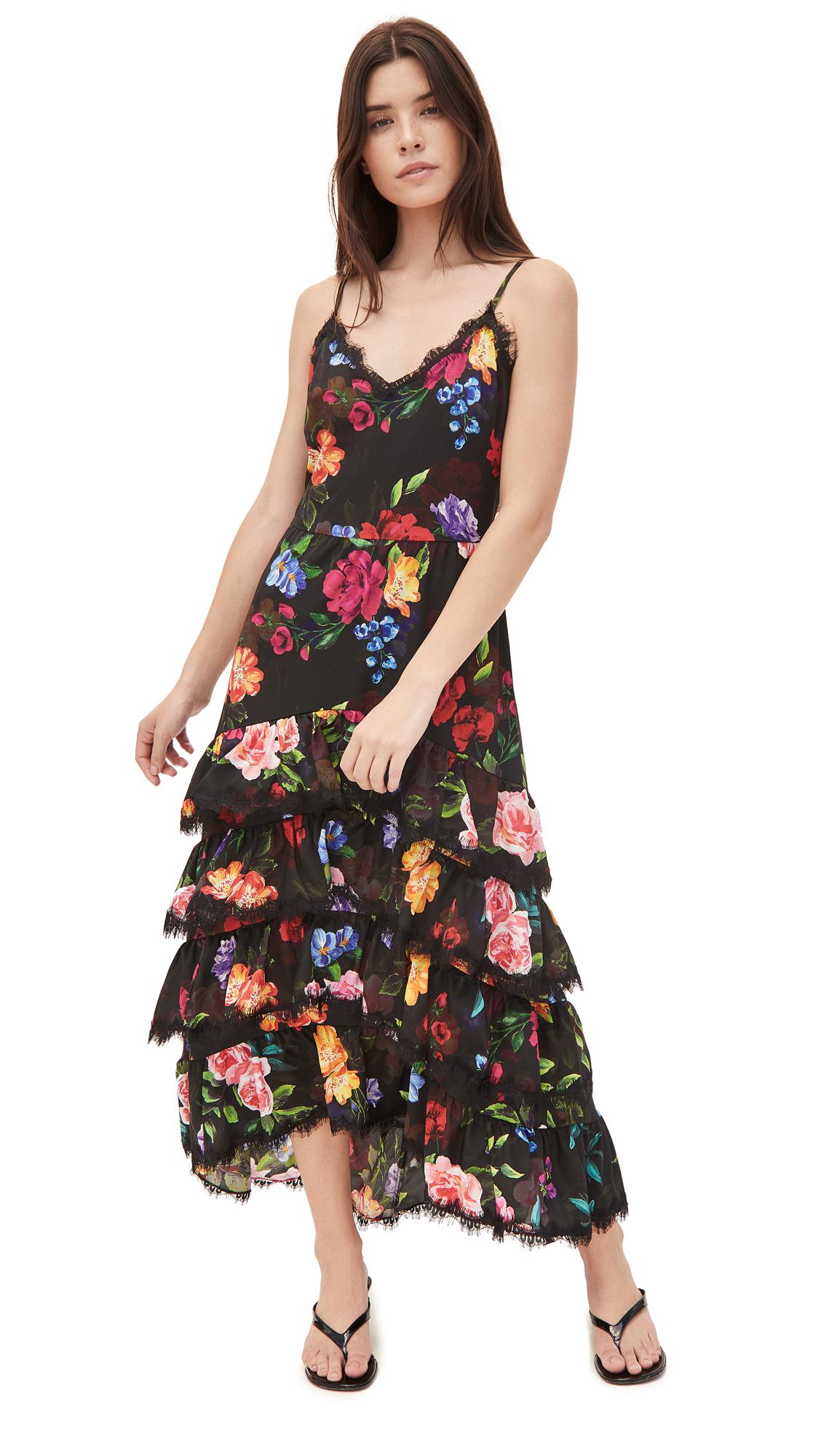 Marchesa Notte Sleeveless Ruffle Tiered Maxi Dress