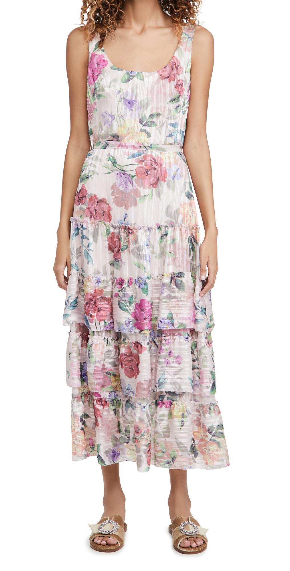 Marchesa Notte Printed Sleeveless Square Neck Dress