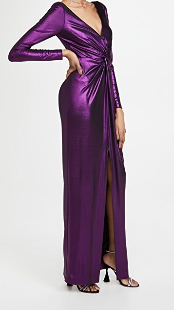 Marchesa Notte Long Sleeve Plunging V Neck Gown