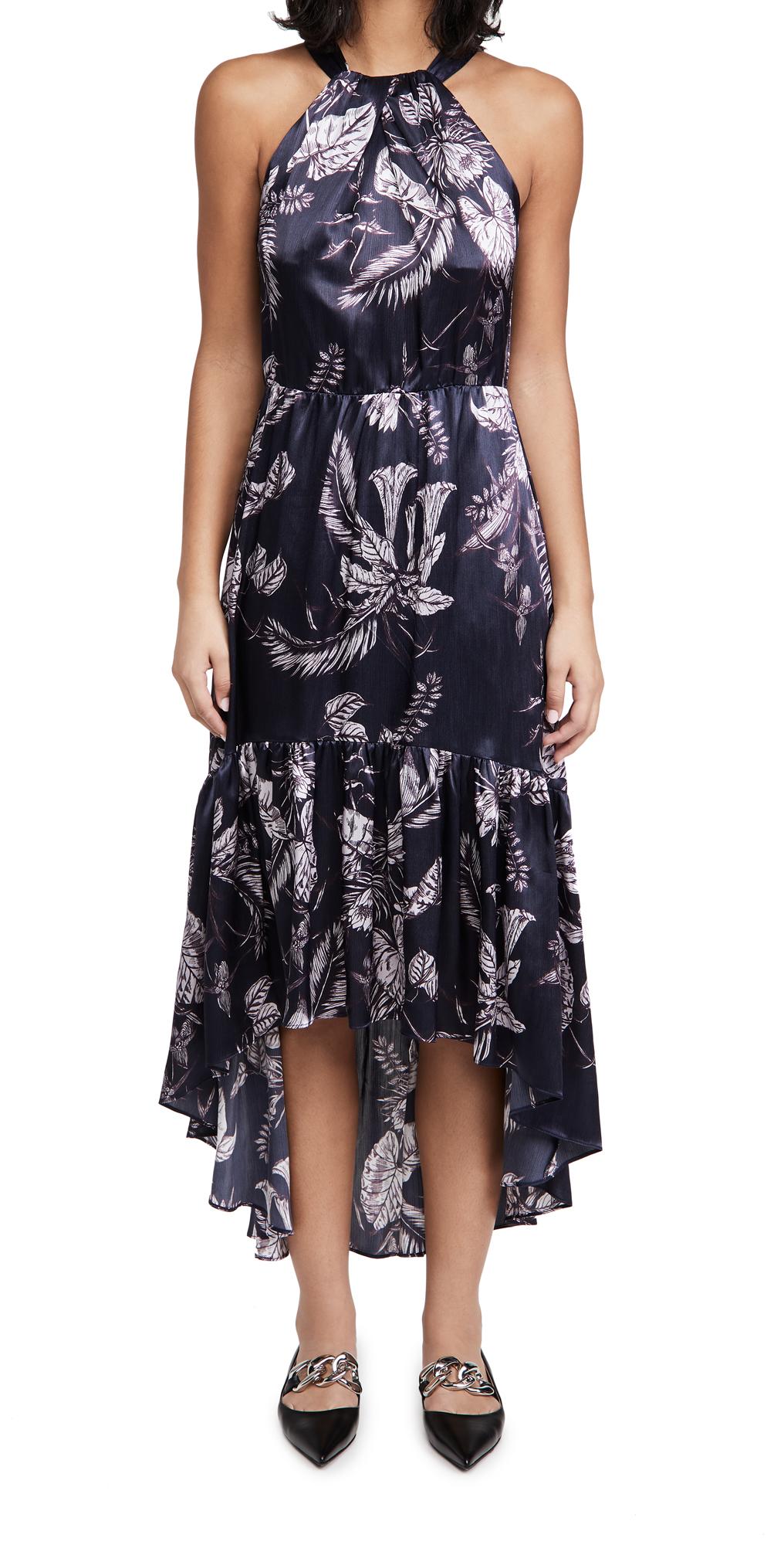 Marchesa Notte Printed Sleeveless Halter Neck Dress