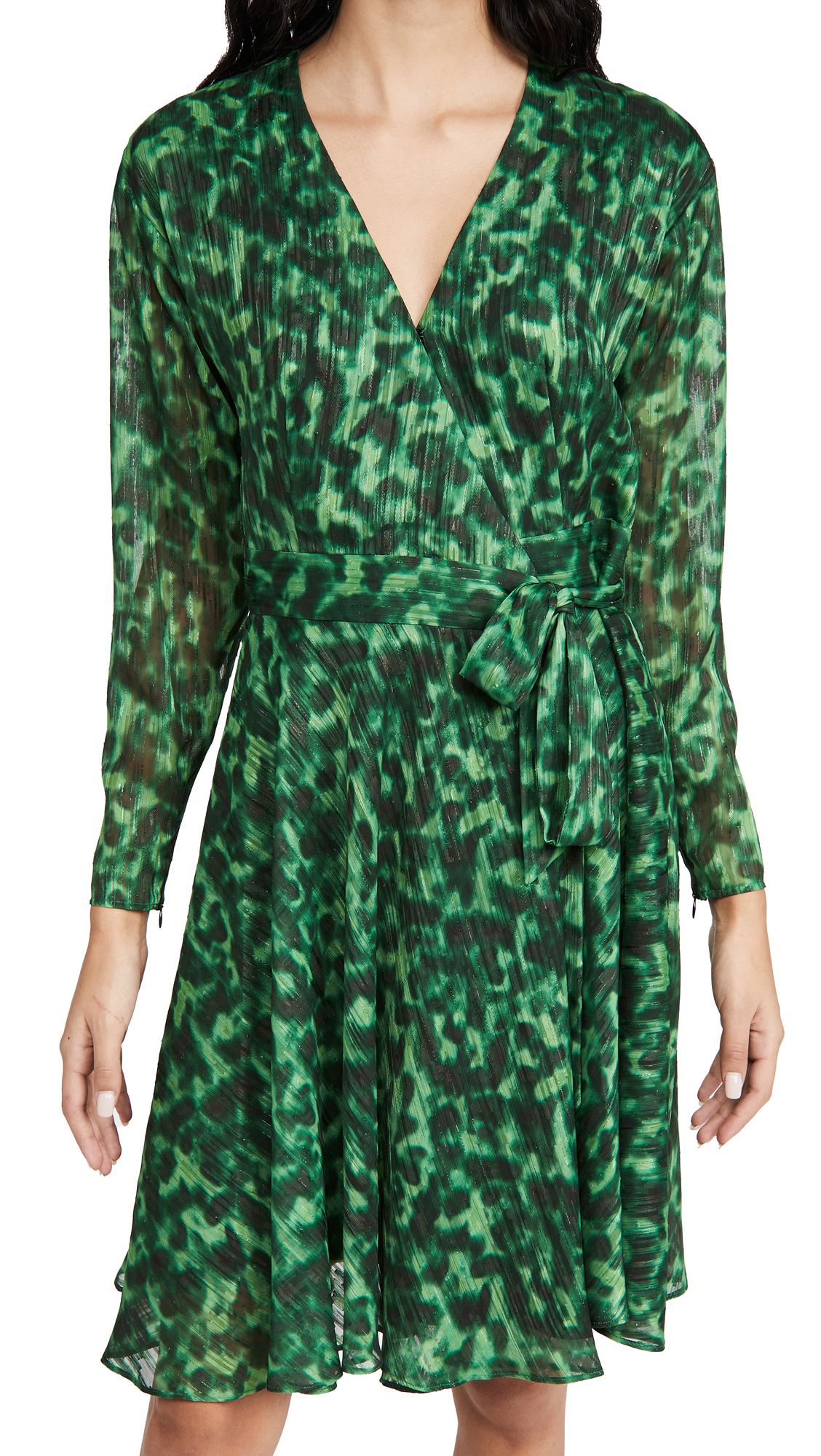 Marchesa Notte Printed Long Sleeve Dress