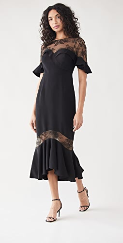 Marchesa Notte - Crepe Lace Flutter Sleeve Midi Dress