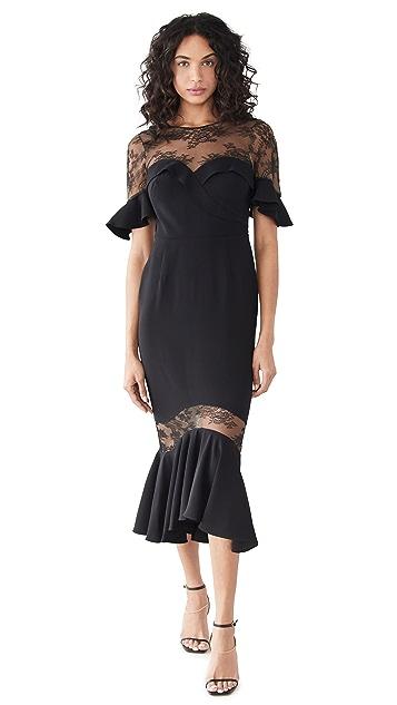 Marchesa Notte 绉绸蕾丝荷叶袖中长连衣裙