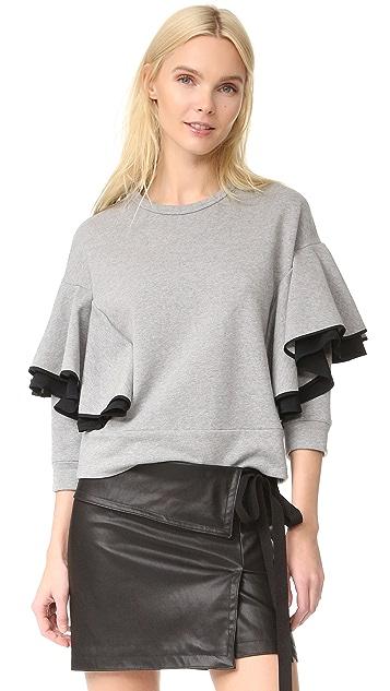 No. 21 Long Sleeve Ruffled Sweatshirt