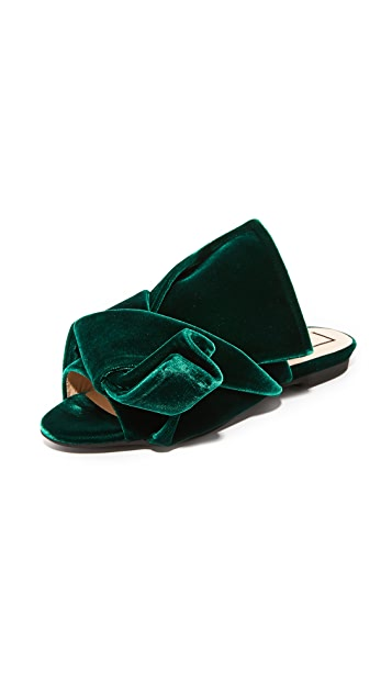 No. 21 Flat Slides with Bow in Velvet