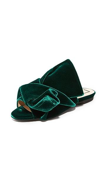 No. 21 Flat Slides with Bow in Velvet