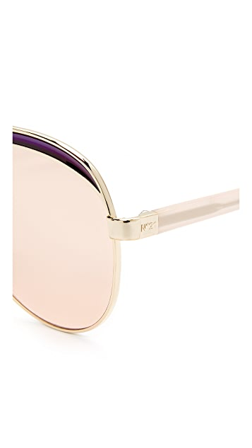 No. 21 Mirrored Aviator Sunglasses