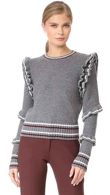 No. 21 Ruffle Trim Knit Sweater