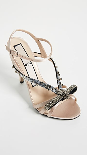 No. 21 Bow Embroidery Sandals