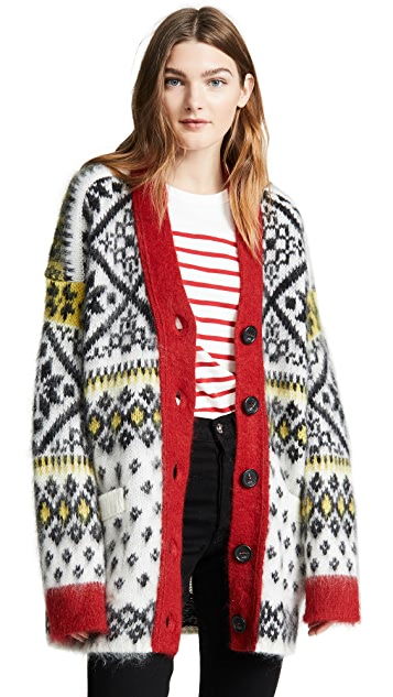 No. 21 Fair Isle Oversized Cardigan
