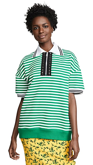 No. 21 Collared Stripe Sweatshirt