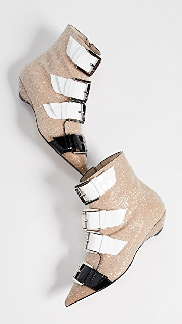 No. 21 Strapped Glitter Booties
