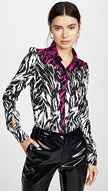 No. 21 Zebra Contrast Button Down Top
