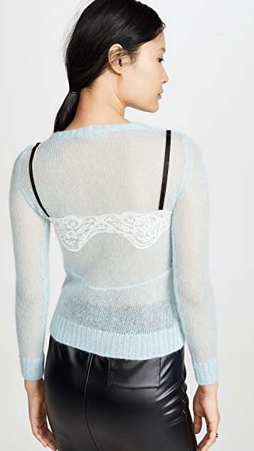 No. 21 Cami Detail Mohair Sweater