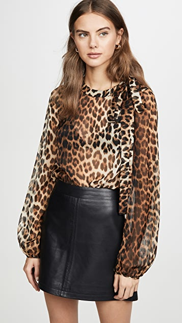 No. 21 Leopard Long Sleeve Blouse