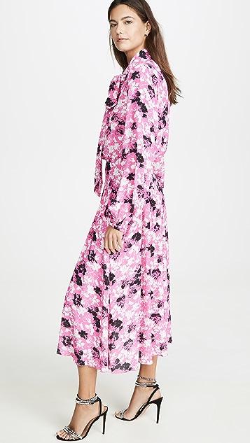 No. 21 花卉长袖绑带中长连衣裙