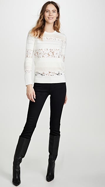No. 21 Lace Striped Sweater