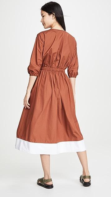 No. 21 V Neck Long Sleeve Midi Dress