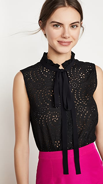 No. 21 Eyelet Blouse with Collar