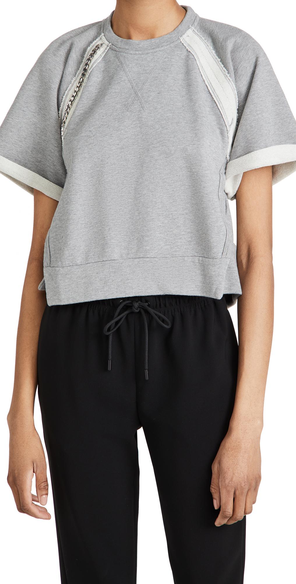 No. 21 Jewel Embellished Short Sleeve Sweatshirt