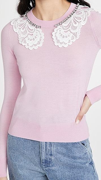 No. 21 蕾丝和珠宝装饰衣领毛衣