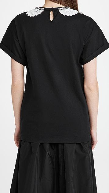 No. 21 蕾丝和珠宝装饰衣领 T 恤