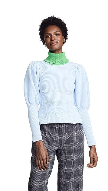 Novis Abbott Puff Sleeve Ribbed Sweater