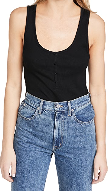 Ninety Percent Ribbed Button Front Top