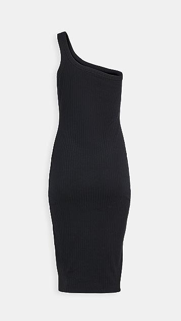 Ninety Percent Ribbed One Shoulder Dress