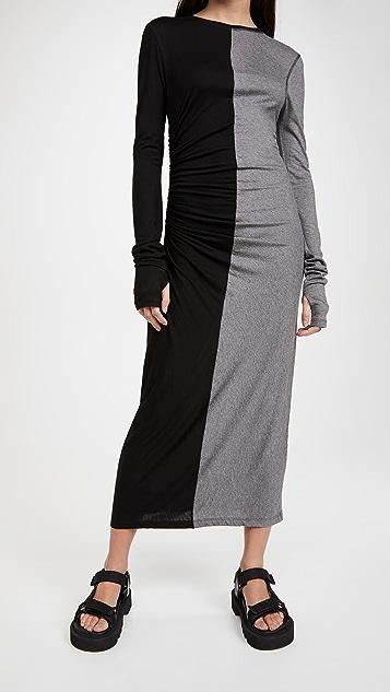Ninety Percent 抽褶细节中长连衣裙