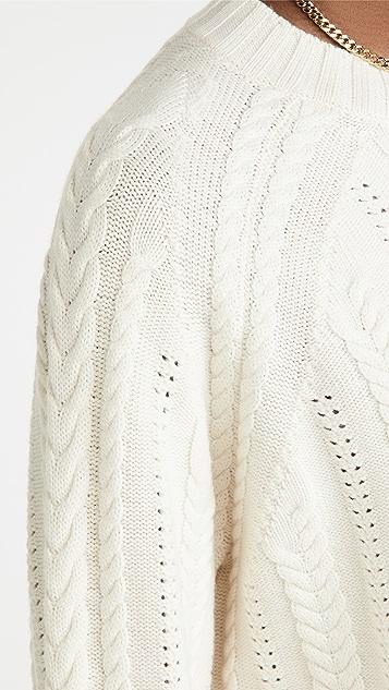 Ninety Percent Merino Raglan Cable Crew Sweater