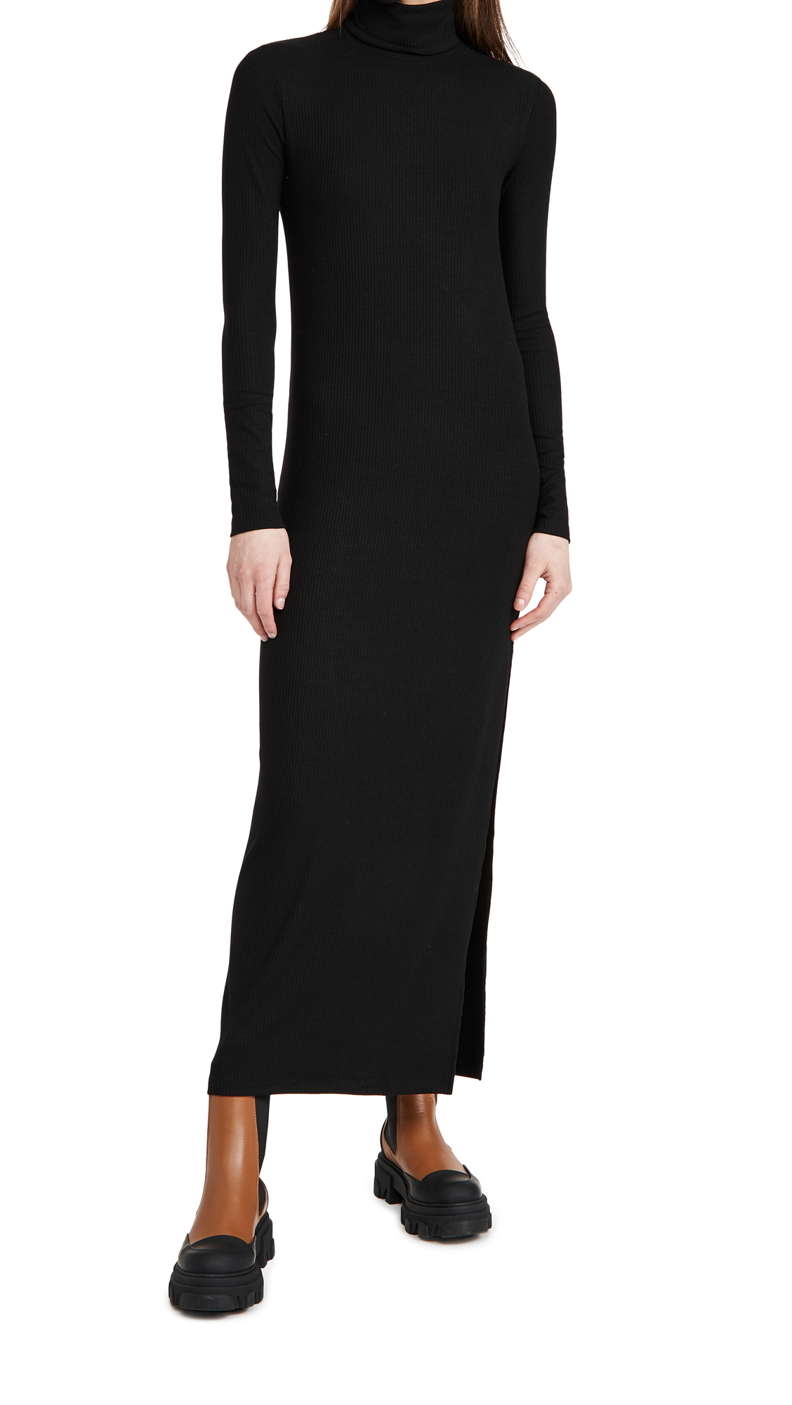 Ninety Percent + Net Sustain Cutout Stretch-knit Turtleneck Midi Dress In Black