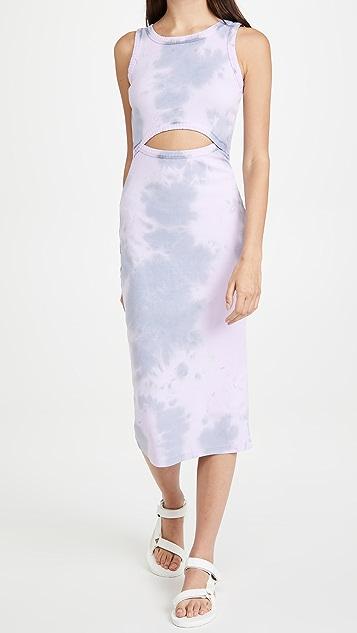 Ninety Percent 棉质罗纹镂空连衣裙