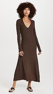 Ninety Percent 3X2 Stretch Tencel Rib Collared Maxi Dress