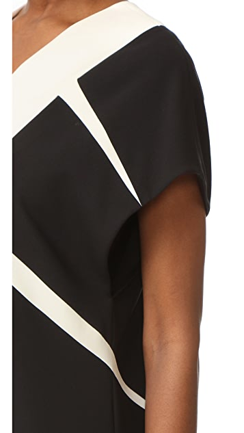 Narciso Rodriguez Cap Sleeve V Neck Dress