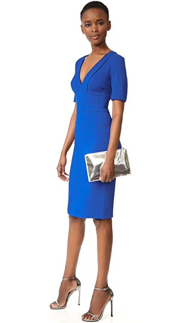 Narciso Rodriguez Short Sleeve V Neck Dress