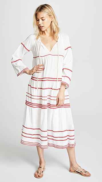 9seed Многоуровневое макси-платье Majorca с длинными рукавами и оборками
