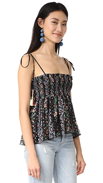 Needle & Thread Floral Stripe Tie Top