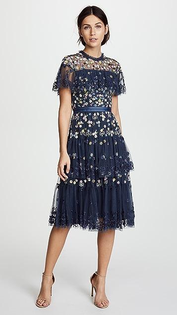 Needle & Thread Tiered Anglais Dress - Washed Indigo