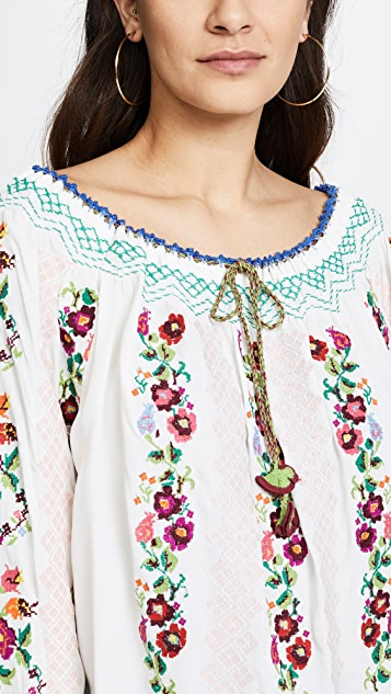 Needle & Thread Cross Stitch Flower Top