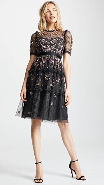 Needle & Thread 康乃馨粉亮片连衣裙
